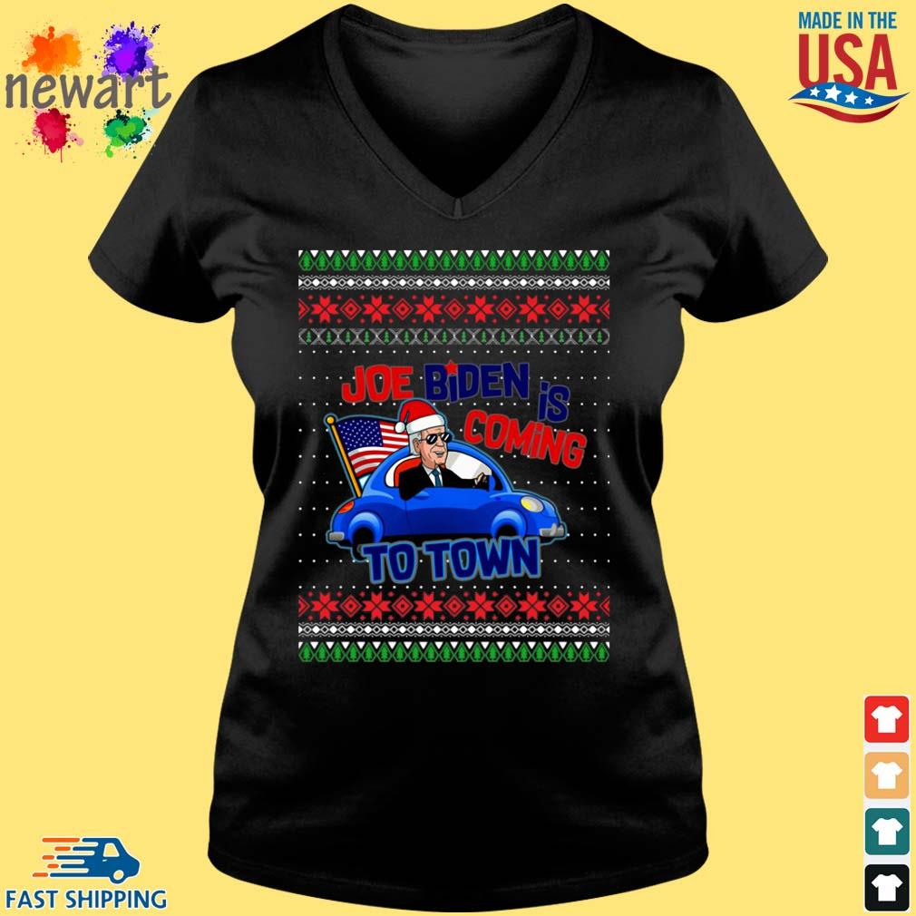 Biden Is Coming To Town New President Potus 2020 Ugly Christmas Sweater Vneck den