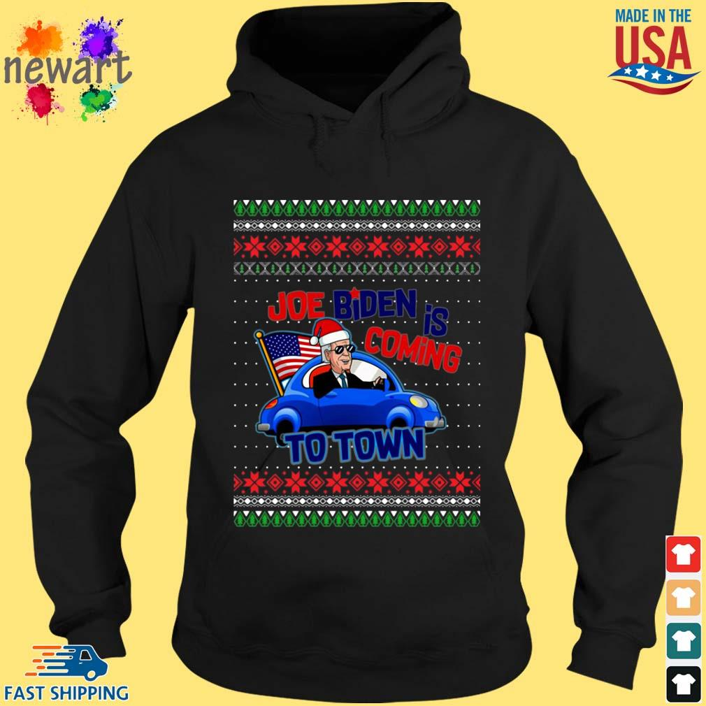 Biden Is Coming To Town New President Potus 2020 Ugly Christmas Sweater hoodie den