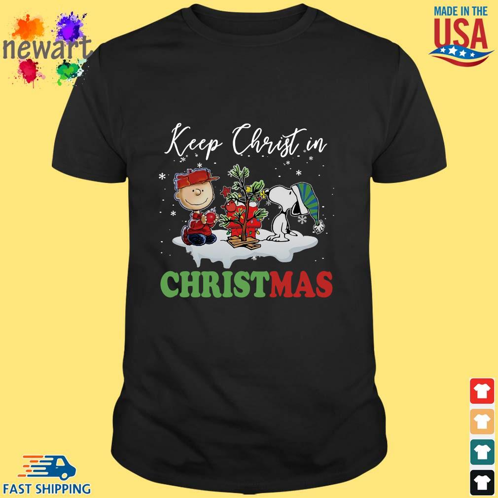 Charlie Brown and Snoopy keep Christ in Christmas sweater Shirt den