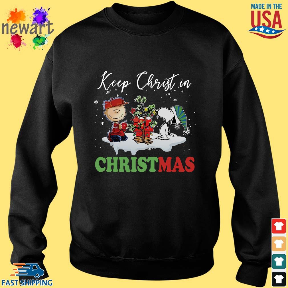 Charlie Brown and Snoopy keep Christ in Christmas sweater