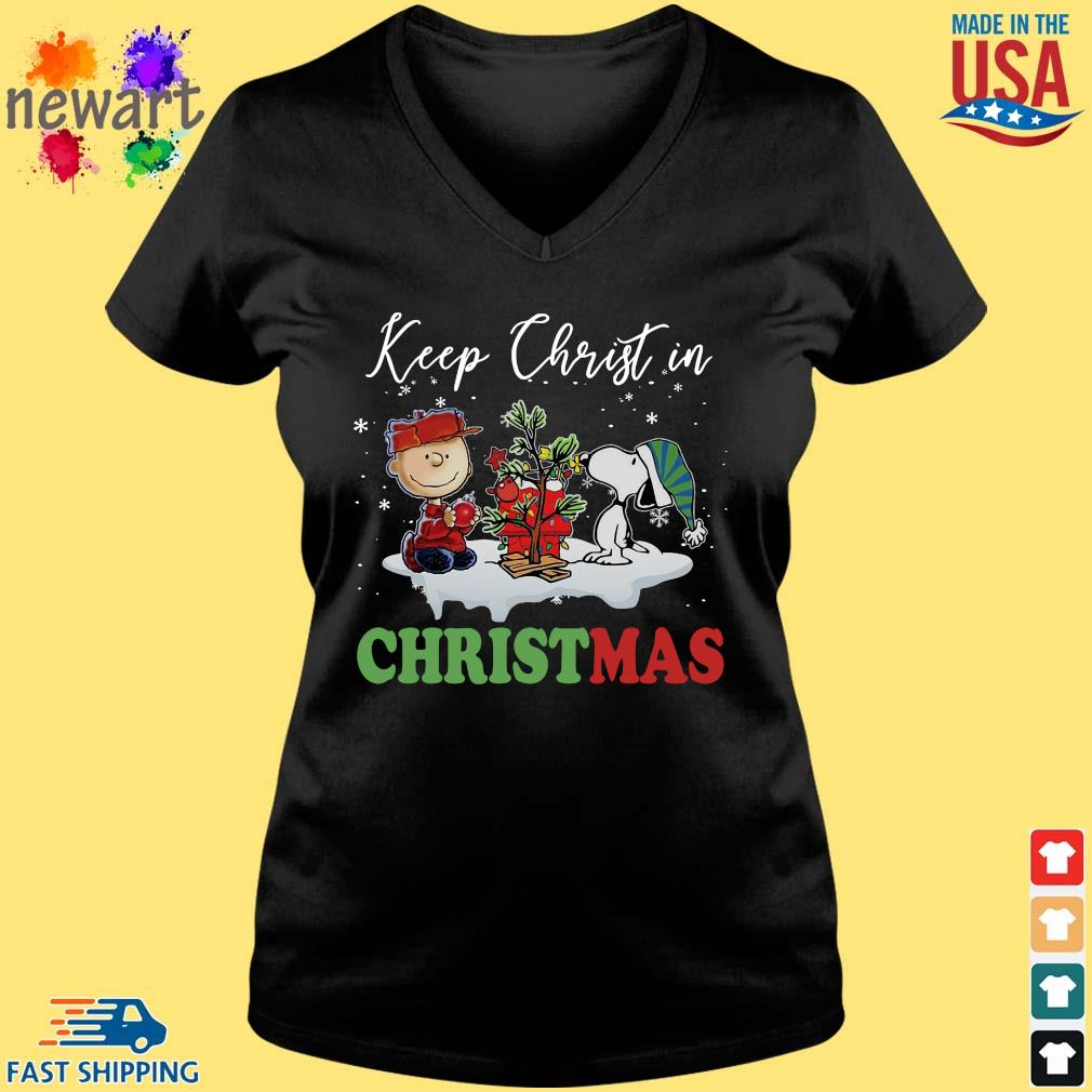 Charlie Brown and Snoopy keep Christ in Christmas sweater Vneck den