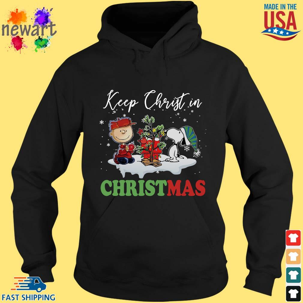 Charlie Brown and Snoopy keep Christ in Christmas sweater hoodie den