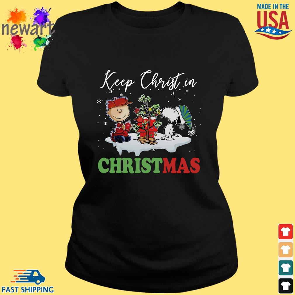Charlie Brown and Snoopy keep Christ in Christmas sweater ladies den