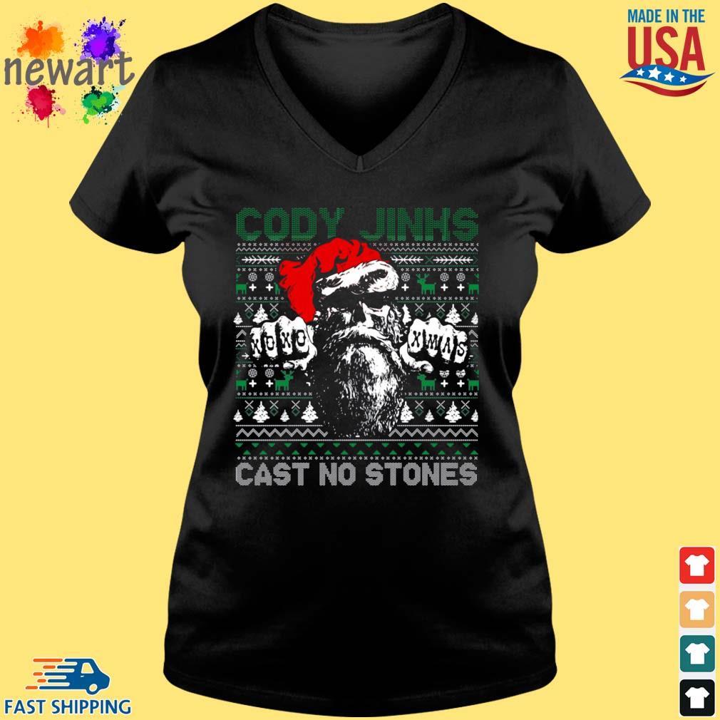 Cody Jinks cast no stones Ugly Christmas sweater Vneck den