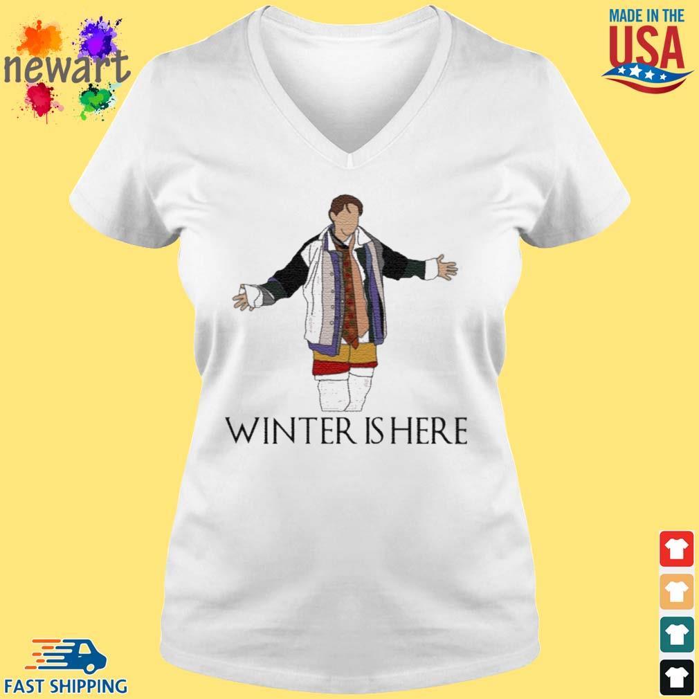Joey Winter Is Here Shirt vneck trang